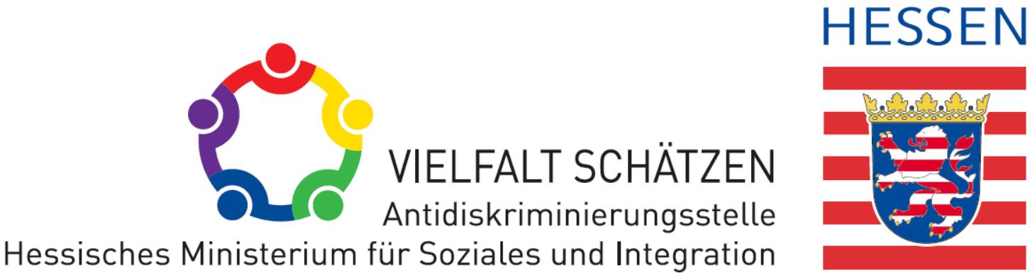 """Logo des Landes Hessen zusammen mit dem Logo """"Vielfalt schätzen - Antidiskriminierungsstelle Hessisches Ministerium für Soziales und Integration"""""""