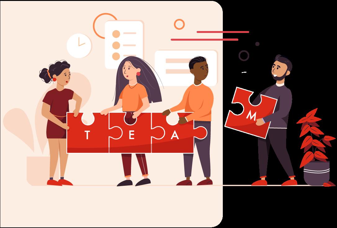 """Bild mit einer Gruppe von Personen, die 4 Puzzleteile verbinden und so das Wort """"Team"""" formen"""